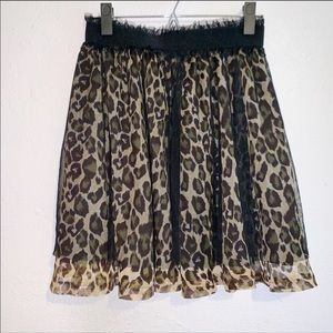 Forever 21 Twist Leopard Print Flounce Skirt M